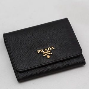 PRADA Vitello leather wallet trifold authentic